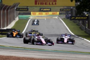 Lance Stroll, Racing Point RP19 and Sergio Perez, Racing Point RP19