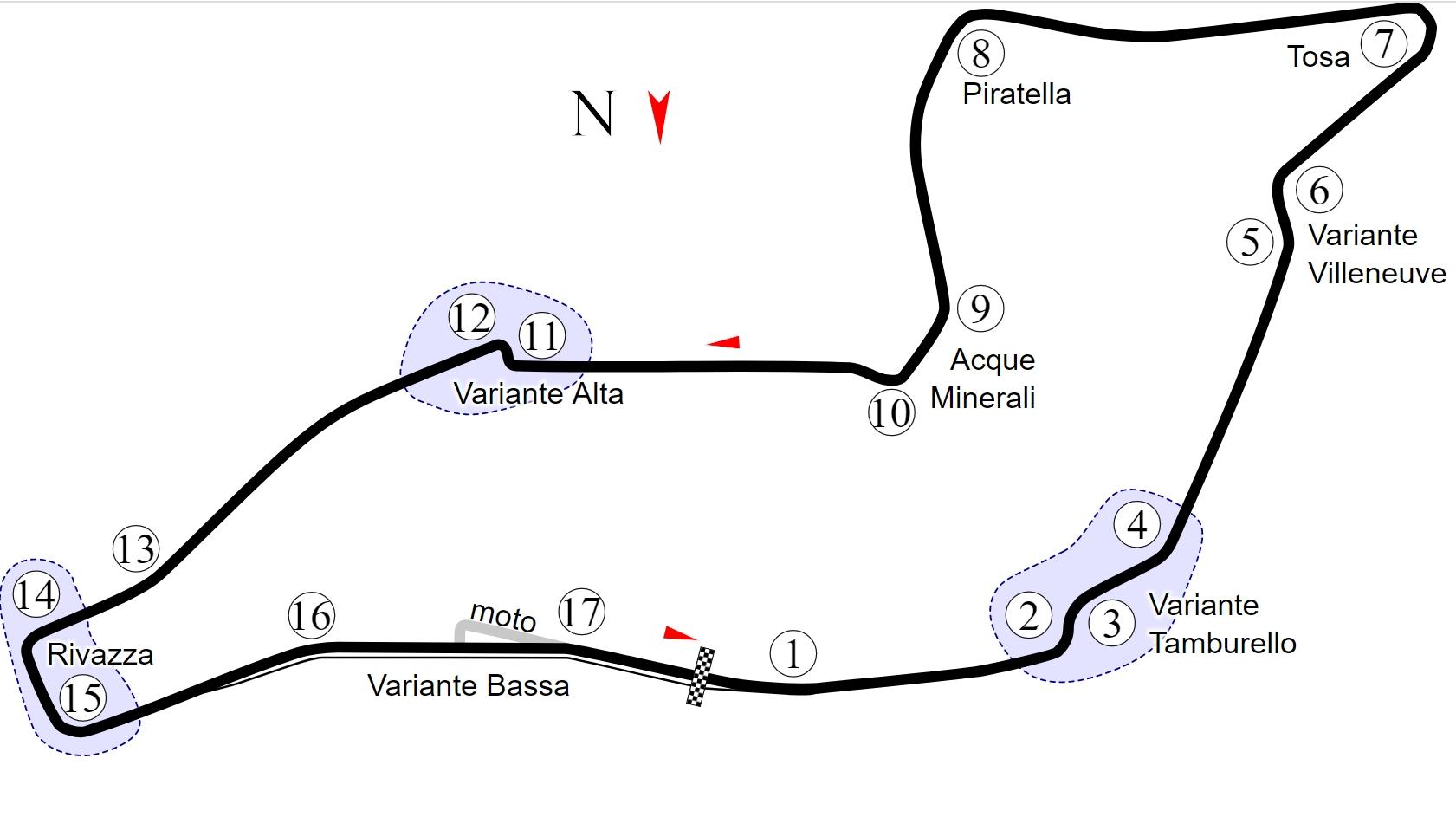 mapa toru imola